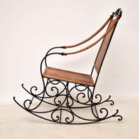 Wrought Iron & Leather Rocking Chair (9 of 12)