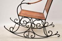 Wrought Iron & Leather Rocking Chair (4 of 12)