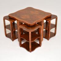 1920s Art Deco Walnut Nesting Coffee Table (10 of 10)