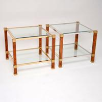 1970s Pair of Vintage French Walnut & Glass Side Tables (3 of 11)