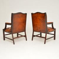 Pair of Leather & Mahogany Gainsborough Armchairs (7 of 8)