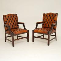Pair of Leather & Mahogany Gainsborough Armchairs (8 of 8)