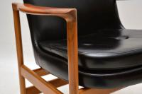 1960s Pair of Leather & Walnut Armchairs by IB Kofod Larsen (11 of 12)