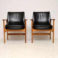 1960s Pair of Leather & Walnut Armchairs by IB Kofod Larsen (2 of 12)