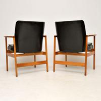 1960s Pair of Leather & Walnut Armchairs by IB Kofod Larsen (6 of 12)