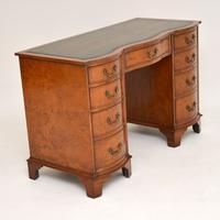 Burr Walnut Leather Top Desk c.1930 (3 of 10)