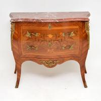 Antique French Inlaid Marquetry Marble Top Bombe Chest (2 of 12)