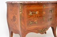 Antique French Inlaid Marquetry Marble Top Bombe Chest (4 of 12)