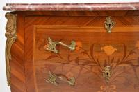 Antique French Inlaid Marquetry Marble Top Bombe Chest (5 of 12)