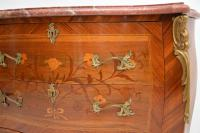 Antique French Inlaid Marquetry Marble Top Bombe Chest (6 of 12)