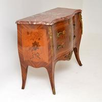 Antique French Inlaid Marquetry Marble Top Bombe Chest (9 of 12)