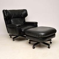 1960s Vintage Leather Reclining Armchair & Stool (3 of 12)