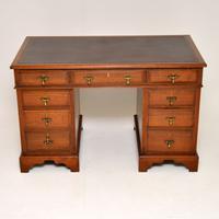 Antique Victorian Walnut Leather Top Desk (2 of 12)