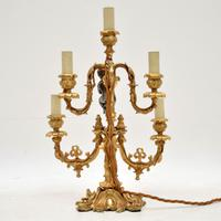 French Gilt Metal Candelabra Table Lamp (3 of 9)