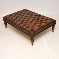Large Antique Victorian Style Deep Buttoned Leather Stool / Coffee Table (3 of 9)
