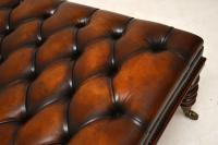 Large Antique Victorian Style Deep Buttoned Leather Stool / Coffee Table (6 of 9)