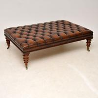 Large Antique Victorian Style Deep Buttoned Leather Stool / Coffee Table (7 of 9)