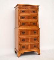 Georgian Style Yew Wood Chest on Chest c.1930 (2 of 13)