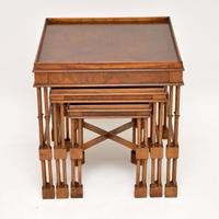Chippendale Style Burr Walnut Nest of Tables (2 of 10)
