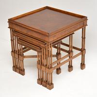 Chippendale Style Burr Walnut Nest of Tables (3 of 10)