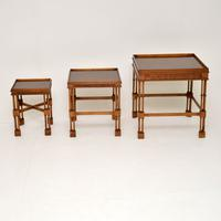 Chippendale Style Burr Walnut Nest of Tables (4 of 10)