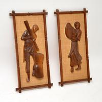 1960s Pair of Carved Walnut Decorative Reliefs Wall Art (2 of 11)