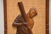 1960s Pair of Carved Walnut Decorative Reliefs Wall Art (7 of 11)