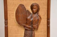 1960s Pair of Carved Walnut Decorative Reliefs Wall Art (8 of 11)