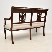 Antique Victorian Carved Mahogany Settee (9 of 11)