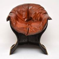 1970s Vintage Leather & Wicker 'Venus' Armchair by Pieff (2 of 10)