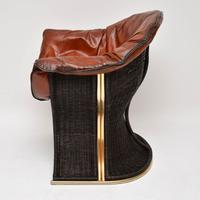 1970s Vintage Leather & Wicker 'Venus' Armchair by Pieff (4 of 10)