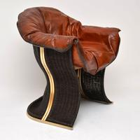 1970s Vintage Leather & Wicker 'Venus' Armchair by Pieff (3 of 10)