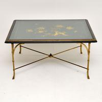 1970s Vintage Decorative Brass & Lacquered Chinoiserie Coffee Table (2 of 11)