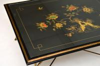 1970s Vintage Decorative Brass & Lacquered Chinoiserie Coffee Table (7 of 11)