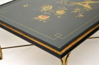 1970s Vintage Decorative Brass & Lacquered Chinoiserie Coffee Table (4 of 11)