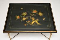 1970s Vintage Decorative Brass & Lacquered Chinoiserie Coffee Table (6 of 11)