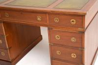 Military Campaign Mahogany Leather Top Pedestal Desk (7 of 10)