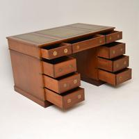Military Campaign Mahogany Leather Top Pedestal Desk (8 of 10)