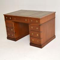 Military Campaign Mahogany Leather Top Pedestal Desk (3 of 10)