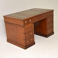 Military Campaign Mahogany Leather Top Pedestal Desk (9 of 10)