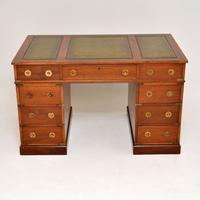 Military Campaign Mahogany Leather Top Pedestal Desk (2 of 10)