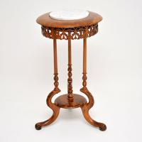 Antique Victorian Burr Walnut & Marble Side Table (3 of 10)