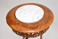 Antique Victorian Burr Walnut & Marble Side Table (4 of 10)