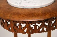 Antique Victorian Burr Walnut & Marble Side Table (9 of 10)