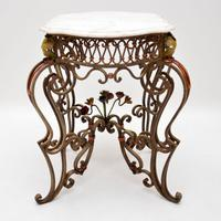 Antique Painted Iron Marble Top Table (9 of 12)