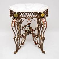 Antique Painted Iron Marble Top Table (2 of 12)
