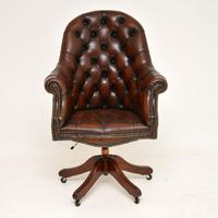 Georgian Style Leather Swivel Desk Chair c.1950 (2 of 9)