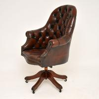 Georgian Style Leather Swivel Desk Chair c.1950 (3 of 9)