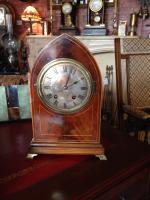 Rosewood & Inlay Lancet Top Clock, German c.1910 (5 of 5)