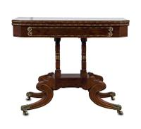 Regency Rosewood & Brass Inlaid Card Table